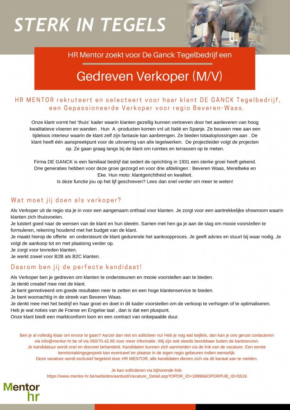 Gedreven verkoper bij Tegelbedrijf De Ganck te Beveren-Waas